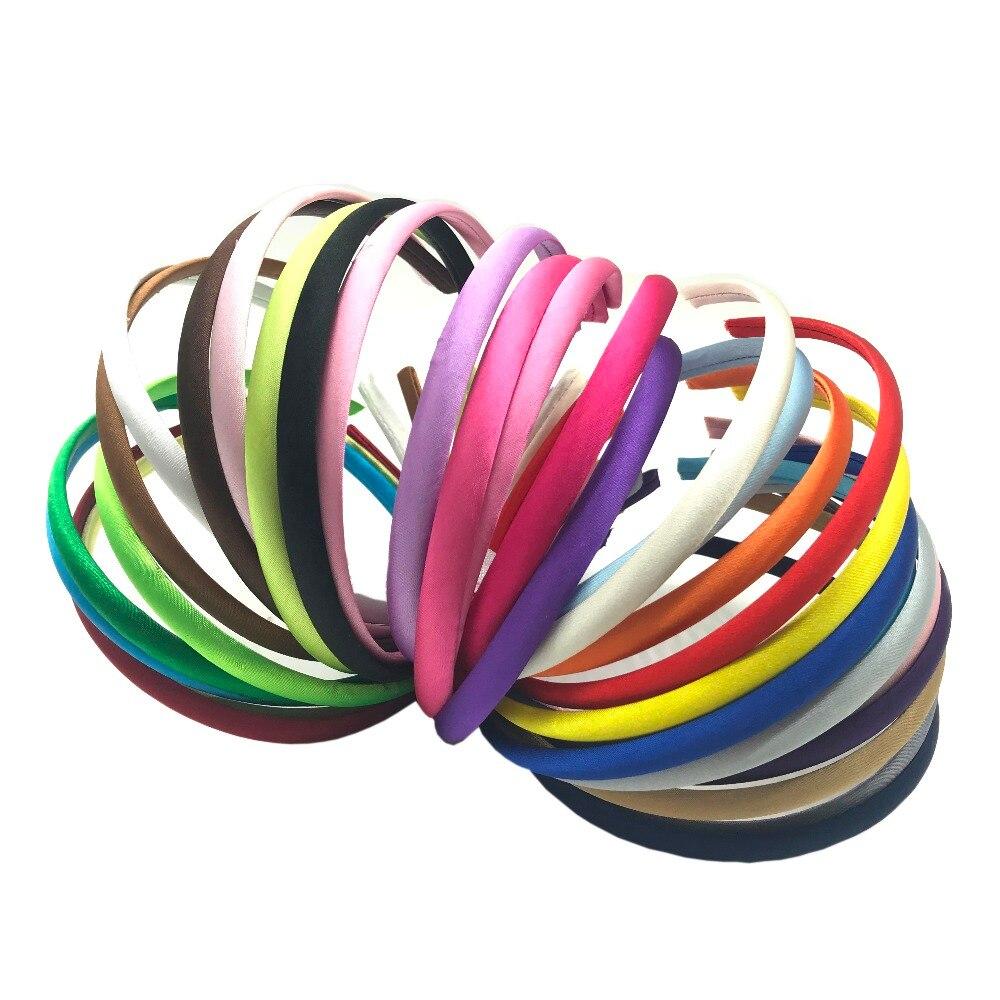 Wholesale 10PCS LOTS 10mm Colored Covered Satin Headband Plastic Hair SH