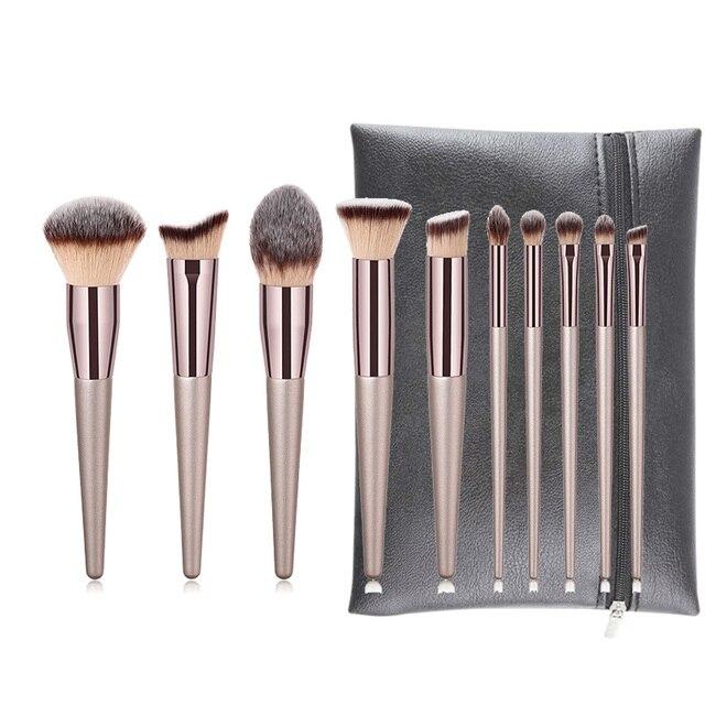 10 шт. набор кистей для макияжа Профессиональная пудра Кисть для растушевки теней для бровей Косметическая щеточка Kabuki инструмент