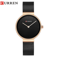 2019 Luxury Brand CURREN Quartz Watch Women Black or Gold Steel Bracelet Watch 30M Waterproof Lady Dress Watch relogio feminino