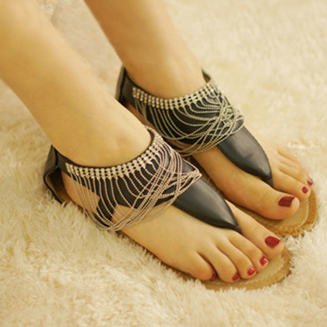 53c25763e8 Verano Sandalias Mujer mujer Sandalias Bohemia negro blanco Zapatos playa  sandalias femininas casual Thong Flats sapato