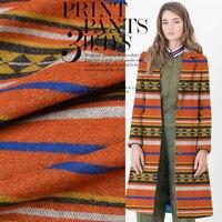 150cm Wide Wool Fabrics National Wind Hit Color Geometric Stripes Woolen Fabric Coat Shawl Cloak Clothing