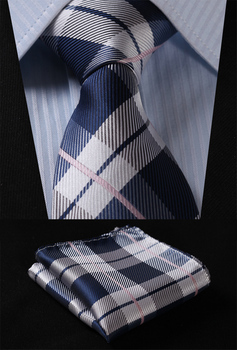 "Party Wedding Classic Pocket Square Tie TC4030A8S Gray Navy Blue Check 3.4"" Silk Woven Men Tie Necktie Handkerchief Set"
