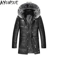 AYUNSUE плюс Размеры мужские из натуральной овечьей кожи куртки 2018 новые зимние натуральный Лисий меховой воротник вниз пальто jaqueta de couro LX2360