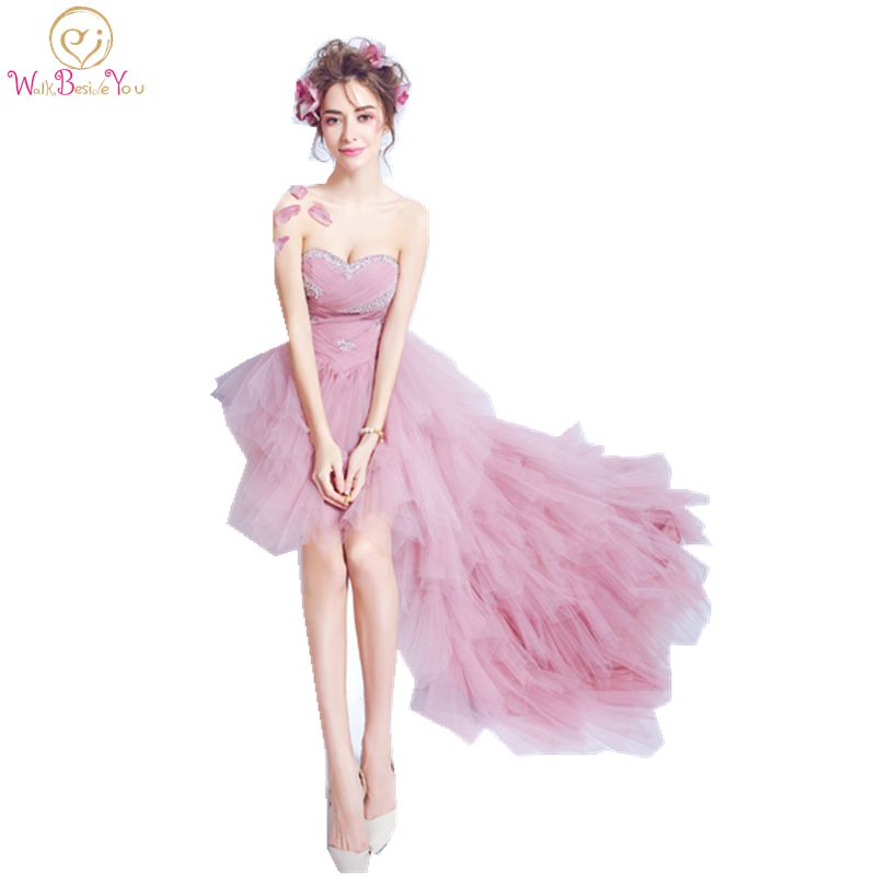 Sweetheart Prom Dresses Short Front Long Back Pink Tulle Party Dress Beaded Tiered Special Occasion Dresses