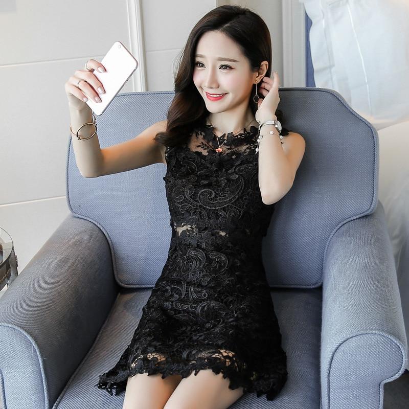 Women Summer Cute Elegant Sleeveless Lace Office Mini Dress Chinese Beautiful Slim Casual Ukraine Girl Black Sexy Short Dress