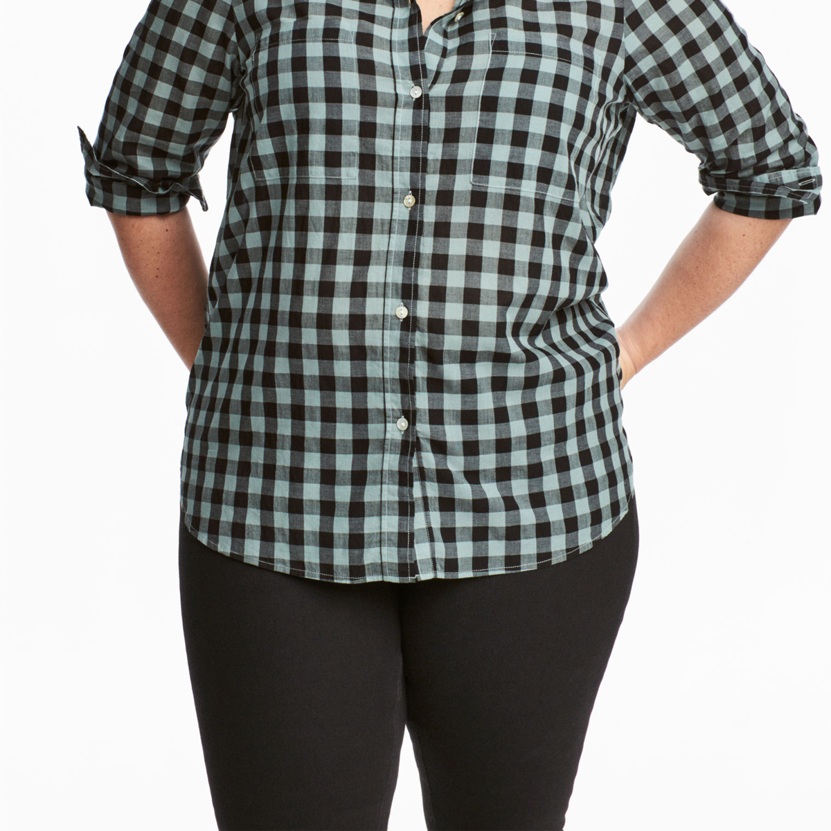 Kissmilk Plus Size Women Button Down Two Pocket Front Shirt Turn Down Collar Plaid Basic Shirt Large Size Casual Loose Shirt 1