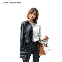 XUANCHURANWEN Women Striped Blouse Long Sleeve Patchwork Color Autumn Slim Casual Tops Turn Down Collar Shirt