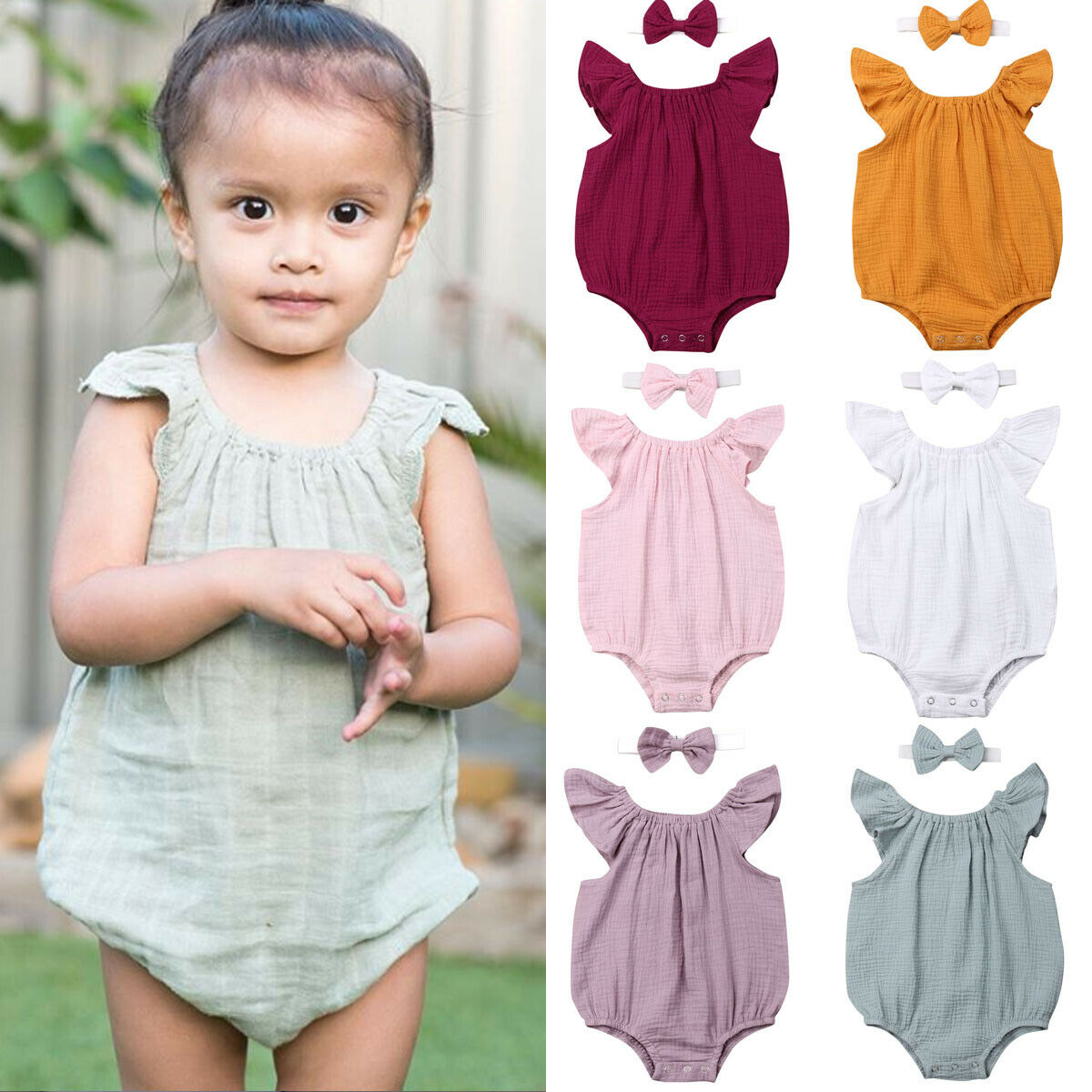 Newborn Baby Boy Girl Clothes Solid Color Cotton Sleeveless Bodysuits Jumpsuit Headband 2PCS Outfits Set