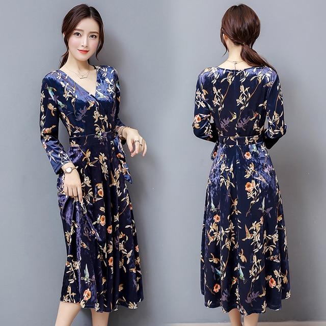 Autumn plus size women clothing 2017 fashion v neck sexy long maxi bandage dress woman vintage floral velvet dresses elbise robe 3