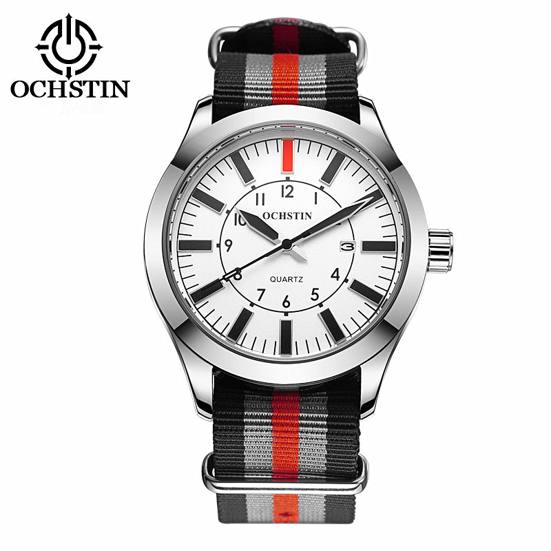 OCHSTIN New Men Military Sports Quartz Watch Luxury Brand Fashion Casual Auto Date 3ATM Waterproof Nylon Relogio Masculino weide new men quartz casual watch army military sports watch waterproof back light men watches alarm clock multiple time zone