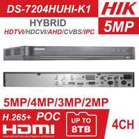 Hikvision Hybrid 4ch/8ch DVR DS-7204HUHI-K1 & DS-7208HUHI-K1 5 IN 1 AHD CVI TVI CVBS IP 8MP Security DVR for Analog Camera
