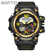 GIMTO Fashion Sport Digital Watch Men Waterproof LED Mens Watches Top Brand Luxury Dual Display Quartz