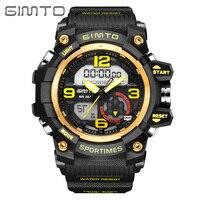 GIMTO Fashion Sport Digital Watch Men Waterproof LED Mens Watches Top Brand Luxury Dual Display Quartz