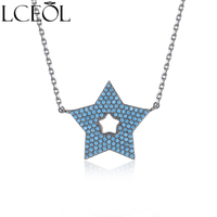 LCEOL Nouvelle Conception Bleu CZ Cristal Micro Pavée Howllow Lucky Star Collier et Pendentifs Pour Femmes Filles Noir Couleur Bijoux Bijoux
