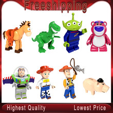 legoed Toys Story Minifigured Woody Jessie Toy Aliens Bulleye Rex Hamm Building Blocks Toy for kids PG8222(China)
