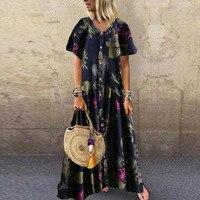 Новый стильный хит продаж, винтажное богемное платье с цветочным принтом, кнопка короткий рукав, высокая талия, макси, летняя пляжная одежда...