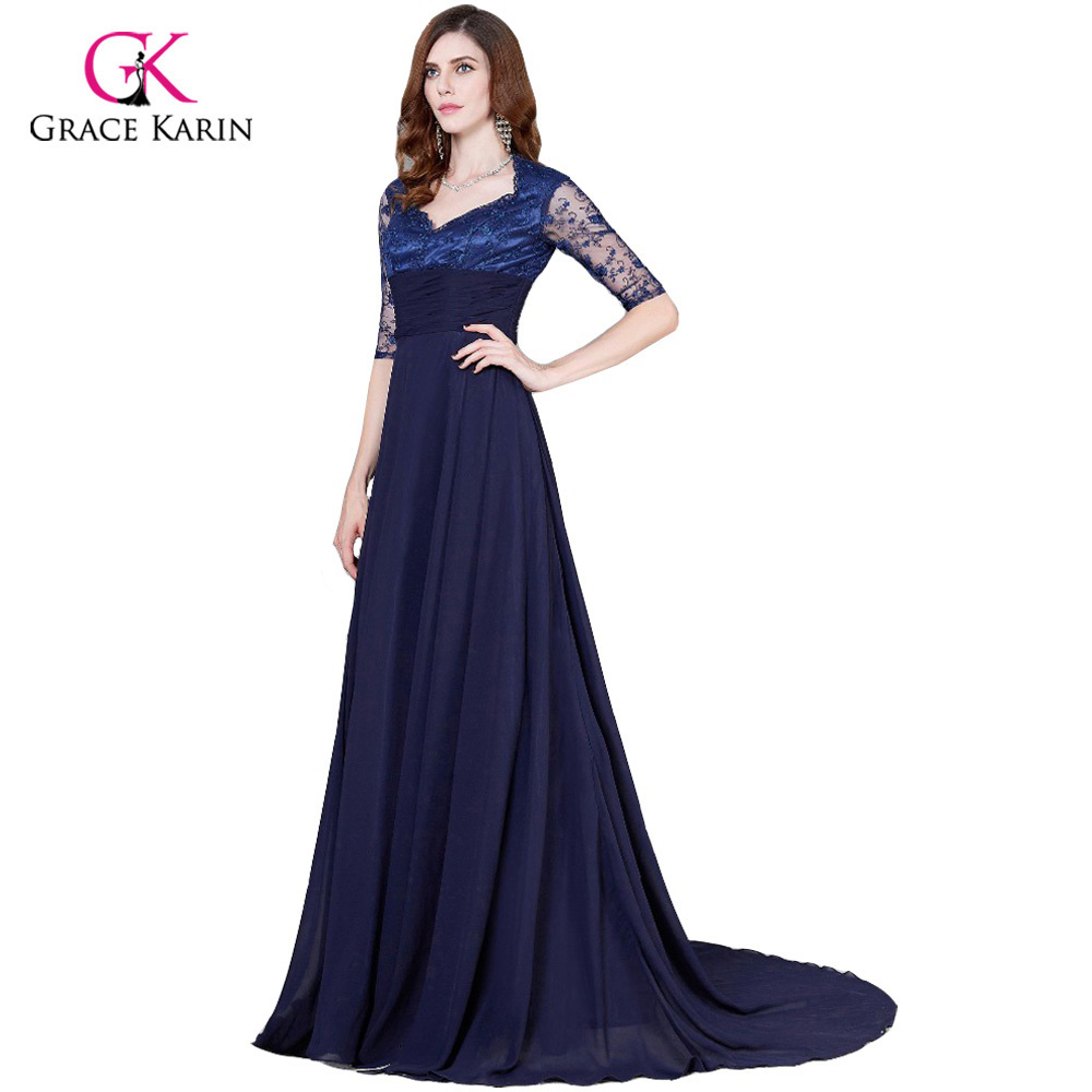 f6ee29e3a36 Grace Karin Navy Blue Mother Of The Bride Dresses Plus Size Long ...