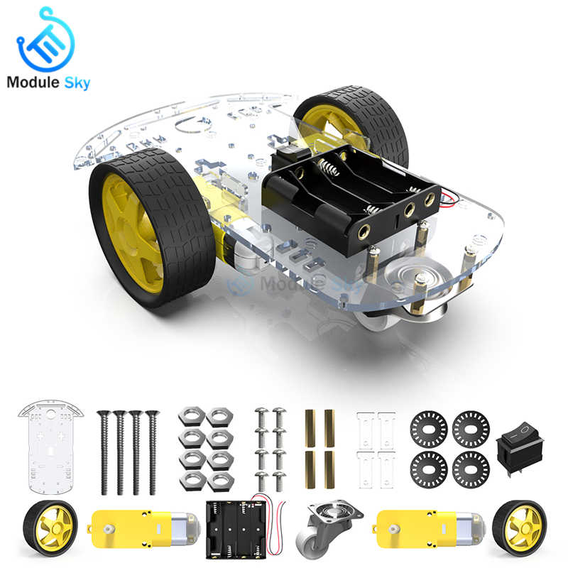 Motor Smart Robot Car Chassis Kit Speed Encoder Batterij Box 2WD Met 1:48 Motor Driver Diy Kit Voor Arduino Robot