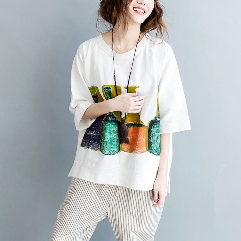3296cd445 Korea Loose Women Tops Print Japan Big size Printed T shirt White Korean  fashion Plus size Women Tshirt Hipster Camisetas Mujer-in T-Shirts from  Women's ...