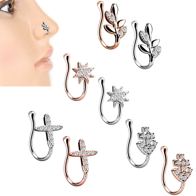 73af2c97133 1PC Amazing Fashion Stainless Steel 5 Style Rose Gold Nose Clip Noseclip Fake  Nose Ring Faux Piercing Fake Septum Body Jewelry
