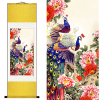 Chinese Silk Watercolor Flower And Birds Peacock Phoenix Peony Ink Art Print Canvas Wall Picture Scroll