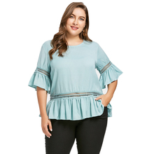 46f9ae378fb6 ZAFUL Plus Size Short Sleeves Round Neck Blouse Summer Chiffon Flare  Sleeves Solid