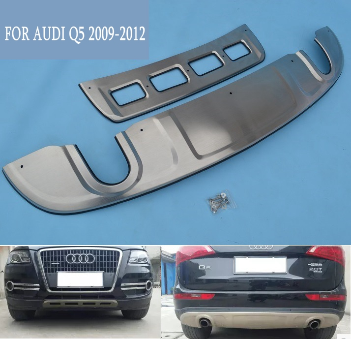 Tuning stainless steel front and rear guard plate Front and rear baffle Protective plate For 2009-12 year Audi Q5 vehicle car protective frosting pc front