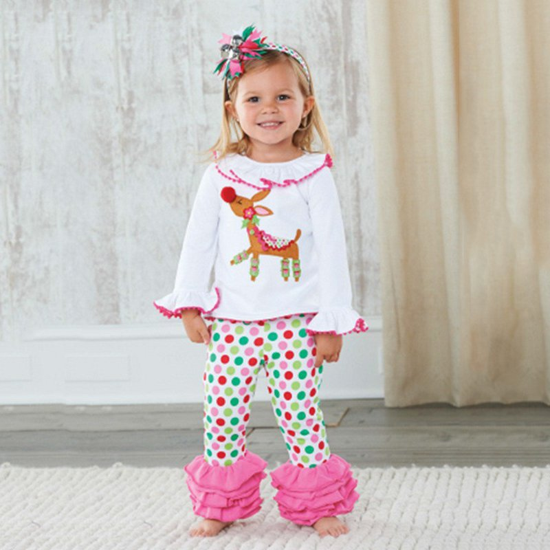 New Fashion Winter Baby Girl Clothes Christmas Outfit White Cartoon Deer Long sleeve tops+ pants 2 pcs girl Sets