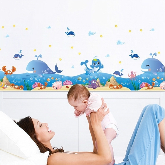 Ocean Fish Baseboard Wall Stickers Decals Kids Sea Whales Animals Removal Wallpaper Children