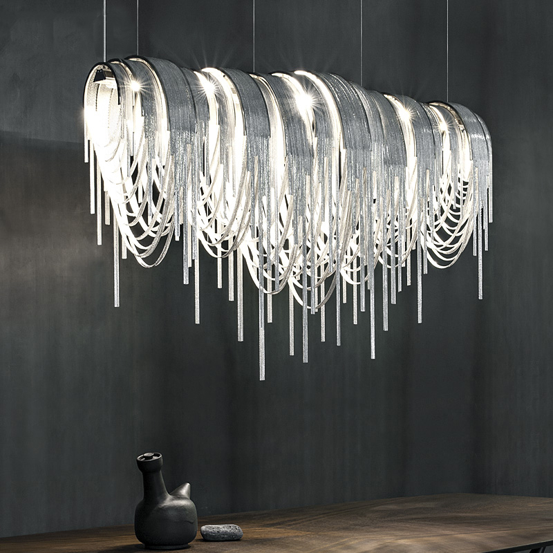 Fringed Pendant Lamp Aluminium Chain Led Pendant Light