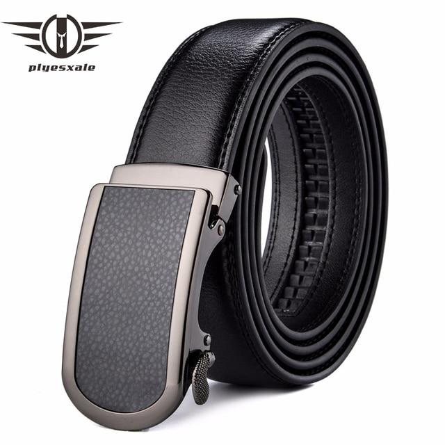 Plyesxale Cuero auténtico hombres 35mm ancho de lujo hebilla automática  ratchet vestido cinturón para hombre negro dd29792d0810