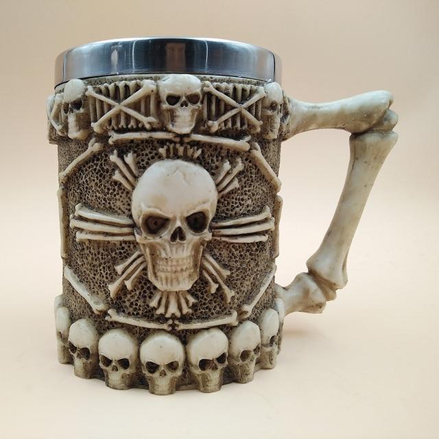 New Halloween 3D Multi Skull Mug Stainless Steel Drinking Crypt Tankard Coffee Tea Bottle Mug Skull Knight Drinking Mug Gift