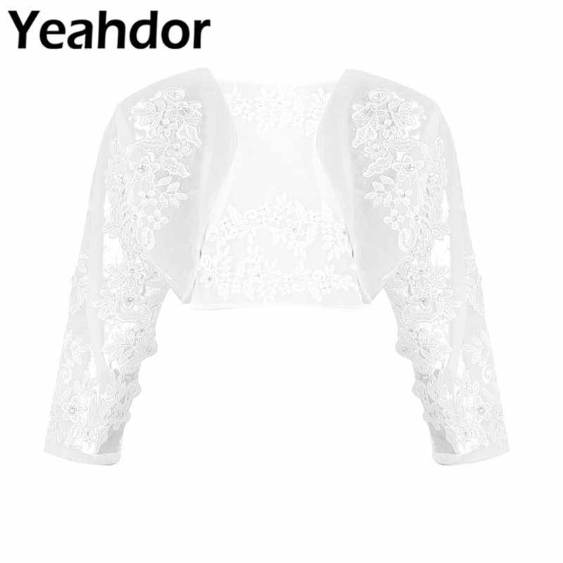 Women Ladies Wedding Top Floral Lace Long Sleeves / Half Sleeves Open Front Tulle Bridal Wedding Bolero Shrug Tops Jacket 2019