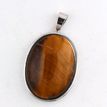 Trendy-beads Personalized Silver Plated Oval Shape Natural Tiger Eye Stone Pendant For Christmas Jewelry