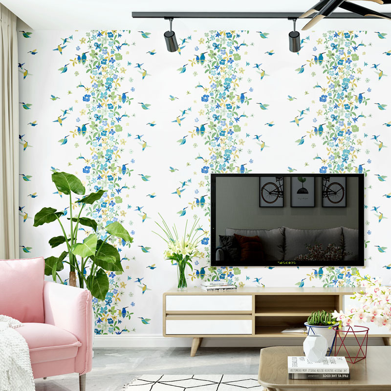 Lovely flowers wallpaper modern minimalist pastoral style fresh small floral warm bedroom living room Nordic