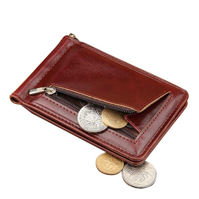 High Quality Leather Men Wallet Money Clips Stainless Steel Clamp Holder Cash Money Clip Small Zipper Coin Pocket Wallet For Men high quality stainless steel money clips wallet folder clip collar metal clip simple money clip stainless steel money clamp hold