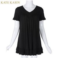 Kate Kasin Elegant 2017 Summer Ruffles Decor Solids Shirt Women Cotton Loose Casual Blouse Short Sleeve