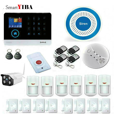 SmartYIBA WIFI GSM RFID card Wireless Home Security Arm Disarm Alarm system APP Remote Control Outdoor IP Camera Alarm system smartyiba 3g wifi alarm system app remote control burglar arm disarm ip camera solar powered siren pet immune pir alarm kits
