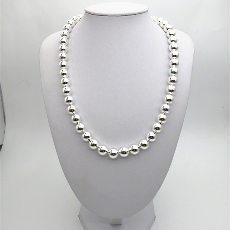 TIFF 1:1 s 925 collier en argent sterling 8mm perles en argent perlé hommes et femmes mode tendance femmes frais Europe