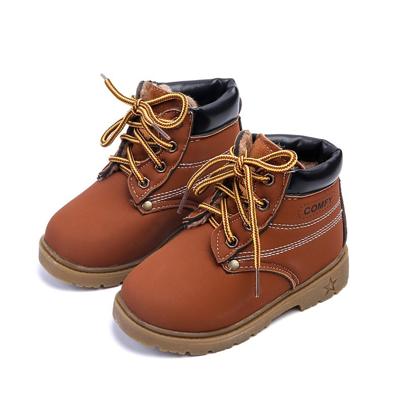 Boots for boys Fall 2017 new fashion PU beef tendon soft at the end of short paragraph Martin boots leather boots girls