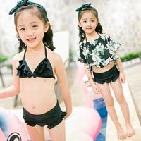 Kawaii Piccolo Ragazze Nuotare Bikini Set di Tre Pezzi Stampa Floreale cover + reggiseno Nero + Falbala Fondo Bellissimi Bambini Costumi Da Bagno
