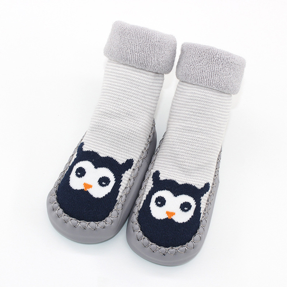 Kid Non-slip Floor Socks Infants Cartoon Animal Print Rubber Sole Soft Stockings