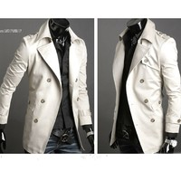 2013 Men S Stylish Double Breasted Long Trench Coat Jacket Windbreak Dropshopping