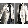 2013 hombres con estilo doble de pecho largo Trench Coat chaqueta cortavientos dropshopping