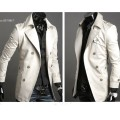 2013 homens elegante duplo Breasted longo Trench Coat Jacket Windbreak dropshopping