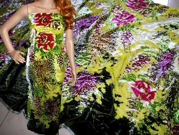 2016 new fashion burnt out silk velvet clothes one-piece dress outerwear fabric green yellow the elapsing rich silk fabric