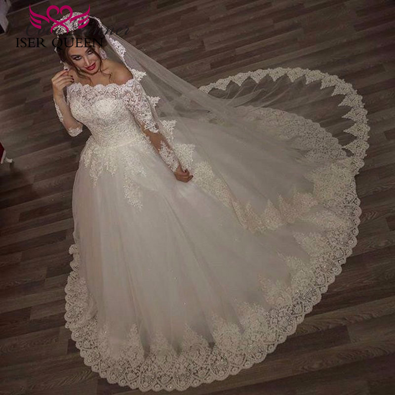 Arabic Long Sleeve Embroidery Beading Wedding Dress 2019 Plus Size Ball Gown Princess Bridal Dress Vintage Wedding Gown W0093