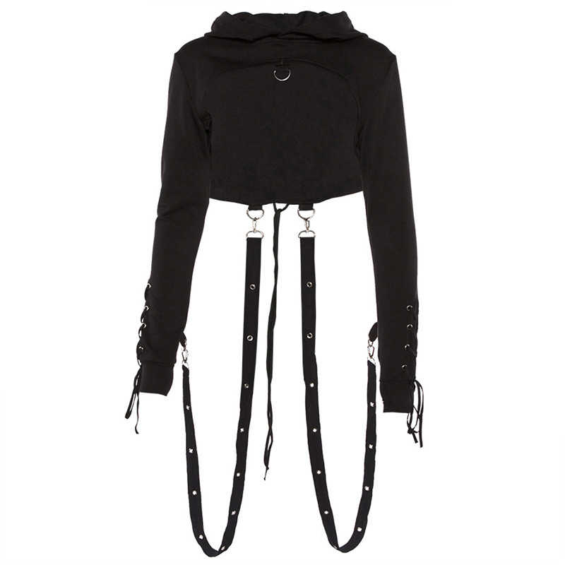 Черная Толстовка для женщин с длинным рукавом Готический короткие худи Хэллоуин необычный укороченный свитер костюмы женские Топы с капюшоном