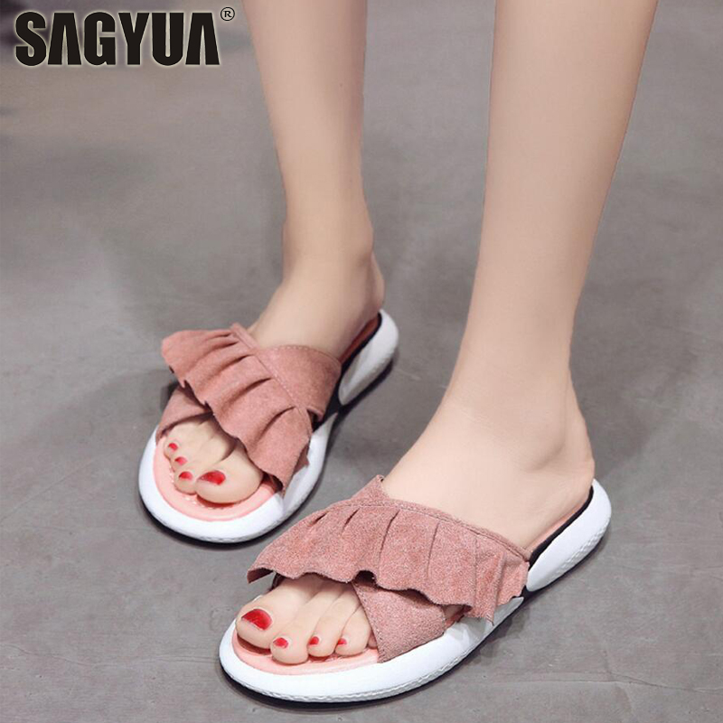 Summer Youth Women Girlish Mules Casual Fashion Drap Cross Pure Color Babouche Peep Toes Loafers Slipper Sandals Flat Shoes T644