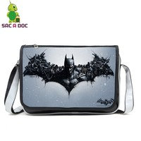 Cool Justice League Batman Messenger Bags PU Leather Crossbody Shoulder Bag Teenager Boys Girls Super Hero School Travel Bags